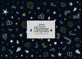 Feliz Navidad patrón decorativo en fondo negro