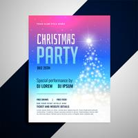 christmas flyer template with glowing tree and colorful backgrou