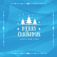 abstract merry christmas blue background design