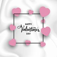 Valentine's day background with hearts on marble texture vector
