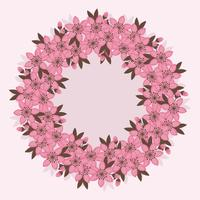 Vector Cherry Flowers Wreath