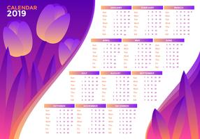 Tulipanes 2019 Vector Calendario Imprimible