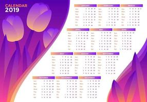 Tulips 2019 Printable Calendar Vector