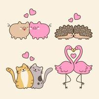 Cute Animals Couple Collection vector