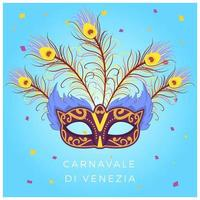 Flat Beautiful Mask Carnevale i Venezia Vector Background Illustration