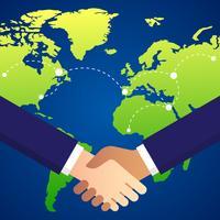 Cooperação empresarial internacional e ilustração de parceria