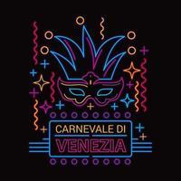 Carnival Mask Vector Illustration Neon Fluorescent Lamp Style