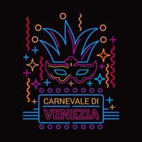 Carnival Mask Vector Illustration Néon Fluorescent Style de lampe