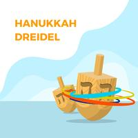 Flat Dreidel Hanukkah Vector Illustration