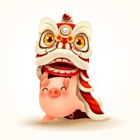 El cerdito realiza la danza del león del año nuevo chino
