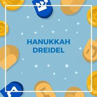Flat Hanukkah Dreidel Vector Background Illustration