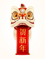 Capodanno cinese Lion Dance Head con scroll
