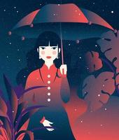 Girl Holding Umbrella Vector
