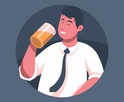 Guys Drinking Beer Illustration
