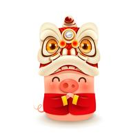 Little Pig with Chinese New Year Lion Dance Head