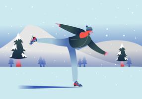 Mujer disfruta de patinaje sobre hielo al aire libre ilustración vectorial