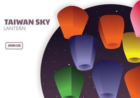 Taiwan Sky Lantern Vector Design