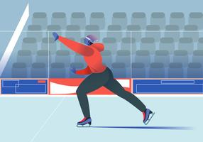 man Enjoy Ice Skating At Arena vector Flat Illustration