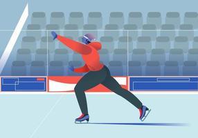man Enjoy Ice Skating At Arena vector Flat Illustration