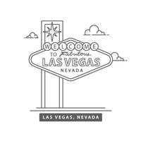 Welcome To Las Vegas Sign Line Vector