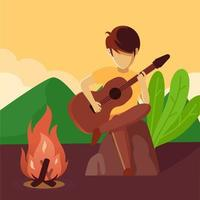 music around campfire vector