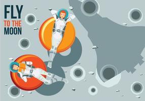 Two Young Astronauts Relaxing on Donuts and Gravity Fly to the Moon