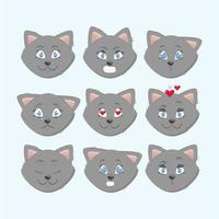 Vector Cute Cat Expressions