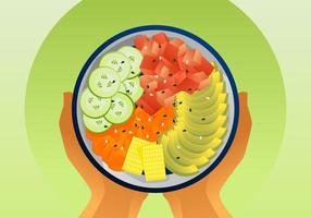 Healthy Poke Bowl Vectors