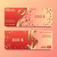 Ribbon tarjeta de regalo vales plantillas de vectores
