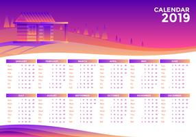 Paisaje 2019 Vector Calendario Imprimible