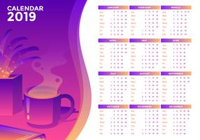 Printable 2019 Office Calendar Vector