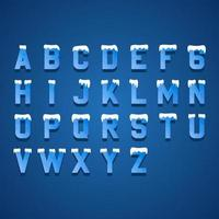 Ice Blue Letters Design Alphabet Elements