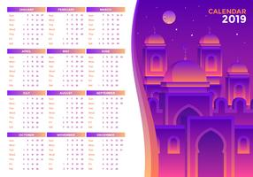 Vector de calendario imprimible islámico 2019