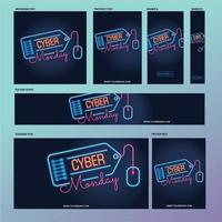 Cyber Monday social media post template with fluorescent lamps or neon style vector