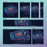 Cyber Monday social media post template with fluorescent lamps or neon style