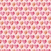 Vektor Waterolor Hearts Seamless Pattern