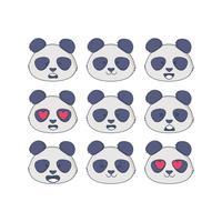 espressioni facciali vettoriali panda
