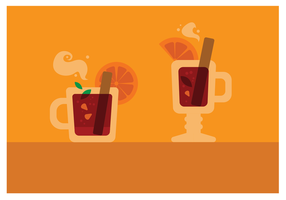 Two Glasses Mulled Wine  vector