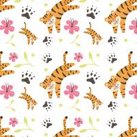 Cute Tiger Pattern With Flower And Leaves