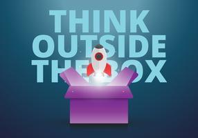 Tänk utanför boxen i kreativ stil, uppmuntrande kort med positiv text och yttre rymden, planet, stjärnor i kreativa stilar