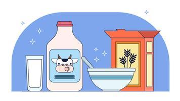 Vecteur de lait et de céréales