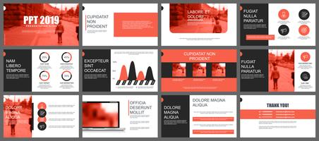 Coral and black business presentation slides templates