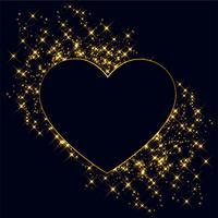 hearts made with golden sparkles background