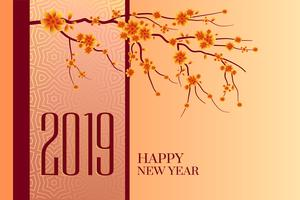 happy new year 2019 chinese tree background