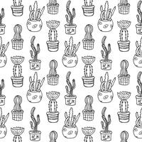 Cactus naadloze patroon illustratie. Vector succulent en cactussen hand getrokken set. In deurplanten in potten.