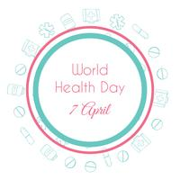 World health day. Hand drawn medical illustration. Pharmacy vector background.
