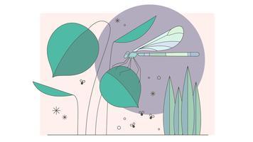 Vecteur d'étang libellule