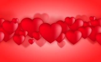 Valentines day hearts, Love balloons on red background