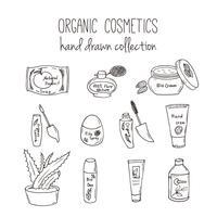 Vector kosmetische flessen. Organische schoonheidsmiddelenillustratie. Doodle skin care items. Kruiden hand getrokken set. Spa-elementen in schetsmatige stijl.
