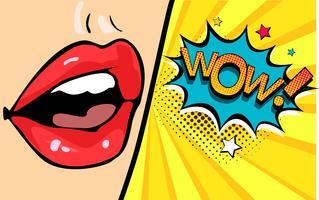 Boca femenina con burbujas de discurso wow